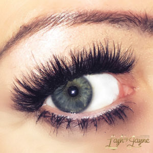 Eyelash extensions on eye