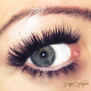 Eyelash extensions on eye